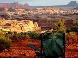 Campchair overlooking the Maze in Canyonlands National Park
