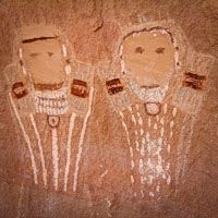 Five faces pictograph Native American rock art