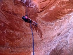 Big rappel in High Spur Canyon