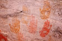 Hand pictograph native american rock art