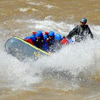 Surfing a wave on the Colorado River