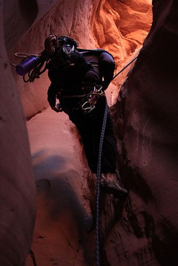 rappelling in blue john canyon